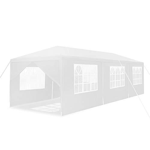 HENGMEI Gartenpavillon 3x9m Gartenzelt Partyzelt Pavillon Festzelt Wasserdicht mit 8/5 Seitenteilen Stahlkonstruktion (Weiß, 8 Seitenwände)