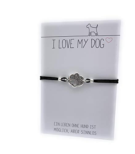 stella-diamonds Feine Zarte Armbänder Armkettchen - Mädchen Jungen Makramee Armband Hundepfote Hund Schmuck Pfote Textil-Armband - Love Stoff-Armband - Handmade Bändchenarmband dünn für Teenager