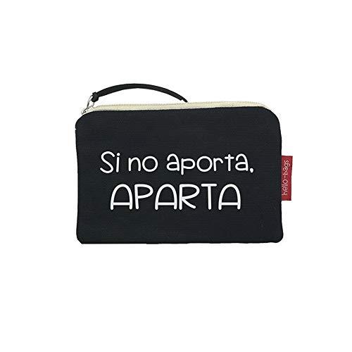 Bolso Monedero/Billetero/Tarjetero. Algodón 100%. Negro. con Cremallera y Forro Interior. 14 * 10 cm. Incluye sobre Kraft de Regalo.