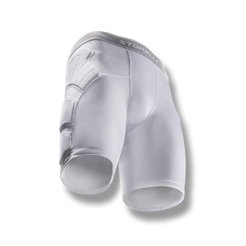 Storelli Pantaloncini Imbottiti Anti Impatto Unisex BodyShield | Pantaloncini protettivi Imbottiti per Calcio | Protezione avanzata per la Parte Inferiore del Corpo | Bianco | Large