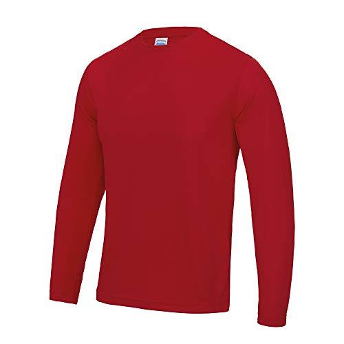 Just Cool T-Shirt Sport Performance uni à Manches Longues pour Homme (2XL) (Rouge feu)