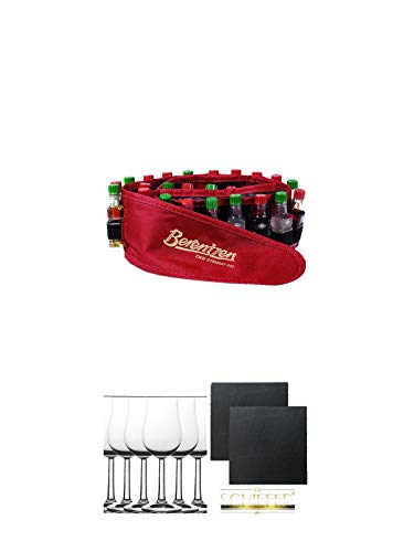 Berentzen Minis 24er Gürtel 24 x 0,02 Liter + Whisky Nosing Gläser Kelchglas Bugatti mit Eichstrich 2cl und 4cl 6 Stück + Schiefer Glasuntersetzer eckig ca. 9,5 cm Ø 2 Stück