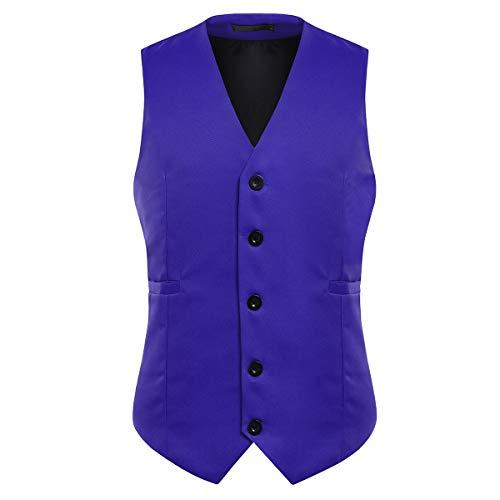 Herren Anzugweste Elegant Basic Weste Stilvoll Vest Regular Design (Blau, M)