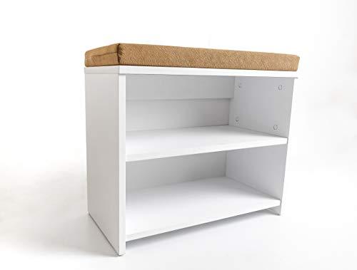 mimilos schuhschrank mit sitzbank, Weiss, schuhregal 30 x 60 x 53,5 cm, klein schuhregale, schuhregal mit sitzfläche, sitzbank mit schuhregal (Weiß)