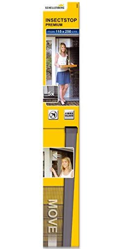 Schellenberg 50663 Insektenschutz Vorhang Premium, 5 Lamellen, verschiebbar, Fliegengitter für Türen, 115 x 250 cm
