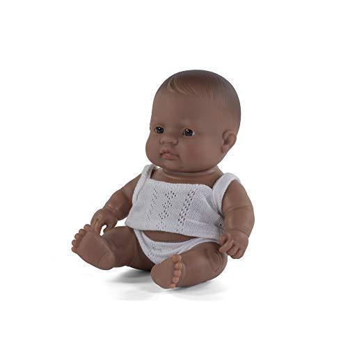 Miniland- Baby Latinoamericano Niño 21cm Muñeco, Color Real (31127)