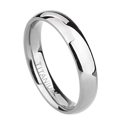 TIGRADE 2mm 4mm 6mm 8mm Titanium Ring Plain Dome High Polished Wedding Band Comfort Fit Size 3-15,4mm,Silver,Size 9