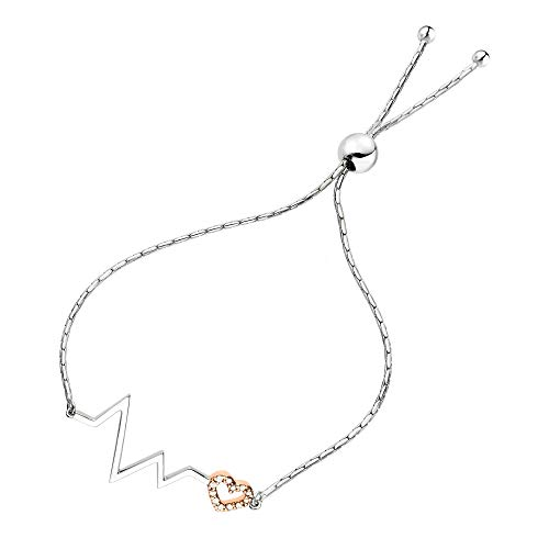 Vir Jewels 1/10 cttw Diamond Bolo Bracelet Rose Gold Plated Over Silver Heartbeat