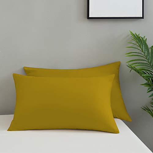 QZY - Juego de 2 fundas de almohada de 50 x 75 cm, de alta calidad y con cremallera, 100% microfibra, color amarillo