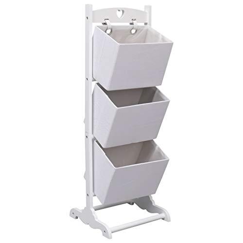 FAMIROSA Cesta de almacenaje de 3 Piezas Madera Blanco 35x35x102 cm