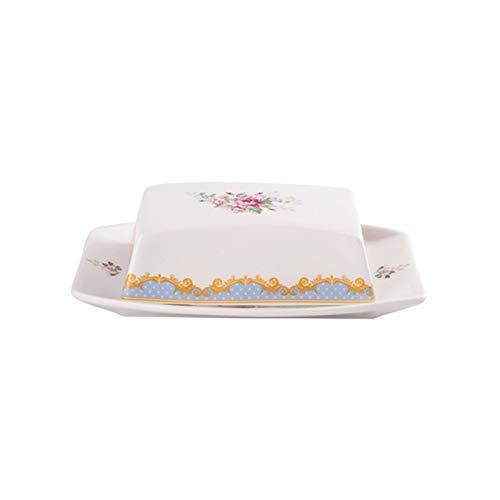 Plato de mantequilla Caja de mantequilla creativa con tapa, plato de cerámica de cerámica exquisitamente estampado, contenedor de mantequilla para almacenar postres, pasteles y queso platos de mantequ