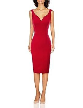 GRACE KARIN Women Sleeveless Deep V Neck Casual Cocktail Pencil Dress Red