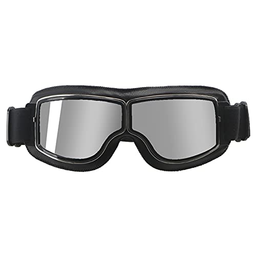 Gafas Moto,Moto Gafas Motocicleta universal Gafas Vintage Gafas Piloto Moto Scooter Bigeres Gafas Gafas para Casco Moto Gafas Motocross (Color : Silver lens)