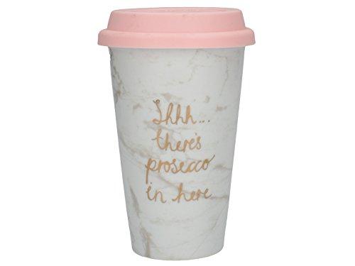 CREATIVE TOPS SSHH, There 's Prosecco in Hier Travel Tasse, Porzellan, Mehrfarbig, 10x 10x 15cm