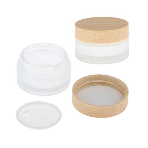 2pièces Pot en Verre Vide Contenant de Cosmétique Stockage de Crème, Nail Art avec Capuchon en Bois - 30g