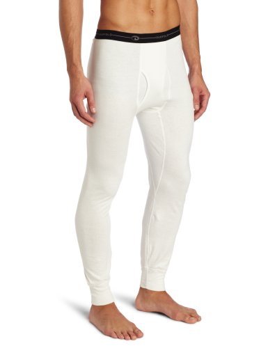 Duofold Men's Mid Weight Wicking Thermal Pant, Winter White, Large