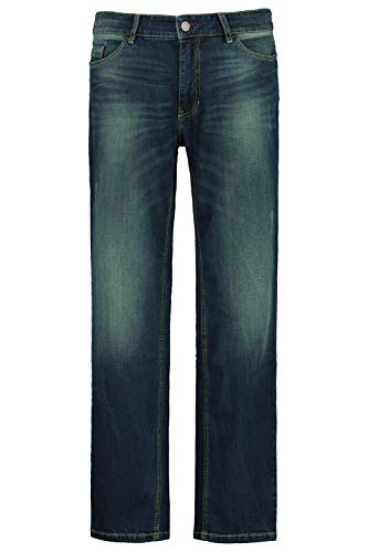 JP 1880 Herren große Größen bis 66, Bauch-Fit Jeans, Dirty Dyed, 5-Pocket, Tapered Loose Fit, elastischer Denim, darkblue 62 723401 93-62