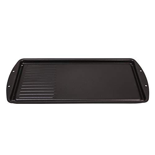 """CukAid Non-Stick Griddle Grill Pan,2-in-1 Cast-iron Double Burner Griddle, Griddle Pan Cookware for Electric Grill, Induction Stovetop and Gas, 19"""" x 9.5"""", Dishwasher Safe, Black"""