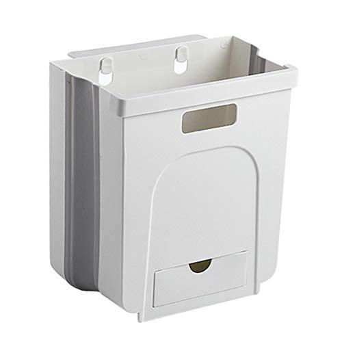 CYGG - Cubo de basura plegable para colgar en la pared, 8 L, plegable, para colgar en la puerta, para cocina, cuarto de baño, sala de estar, cesto de residuos en casa o oficina
