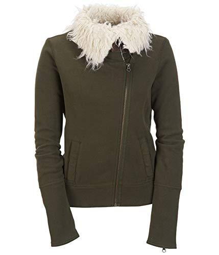 Aeropostale Womens Knit Sherpa Aviator Bomber Jacket, Green, Medium
