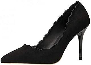 [ZOCOLA] パンプス 黒 歩きやすい スカラップ すべり止め 結婚式 ピンヒール ハイヒール おしゃれ 通勤 通学 デート 美脚 プレゼント