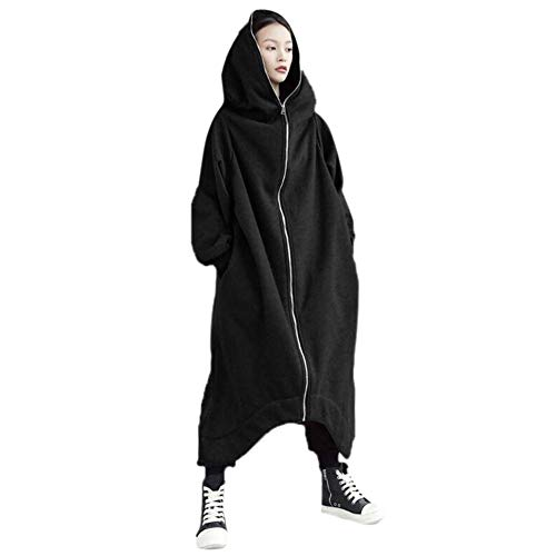 Women Girls Long Cardigan Hoodie Ladies Hooded Plain Sweatshirt Jumper Tops Coat Plus Size 8 22 UK Black