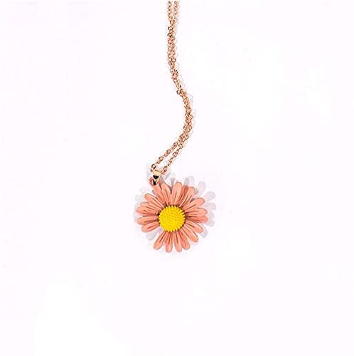Collar de Margarita de Las señoras, Collar de botón de Acero de Titanio Colgante, en General, se Utiliza para Elegir los Regalos Secretos o de cumpleaños (Color : D)
