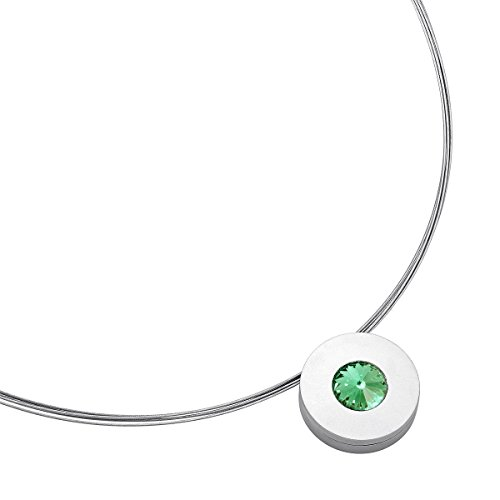 Heideman Halskette Damen Lumen aus Edelstahl Silber farbend matt Kette für Frauen mit Swarovski Stein Kristall Chrysolite grün im Fantasie Edelsteinschliff 10mm