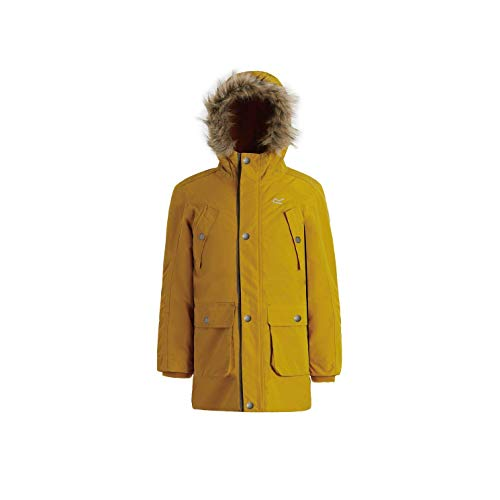 Regatta Kinder Payton Waterproof and Breathable Insulated Reflective Parka Jacke, Gelb (Mustard Seed), 9-10 Jahre (Herstellergröße:135-140 cm)