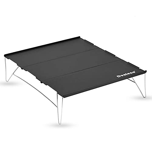 Dualeco アウトドアテーブル キャンプテーブル ローテーブル アルミ製 ソロテーブル ミニテーブル コンパクト 折りたたみ 超軽量 収納袋付き 3枚組