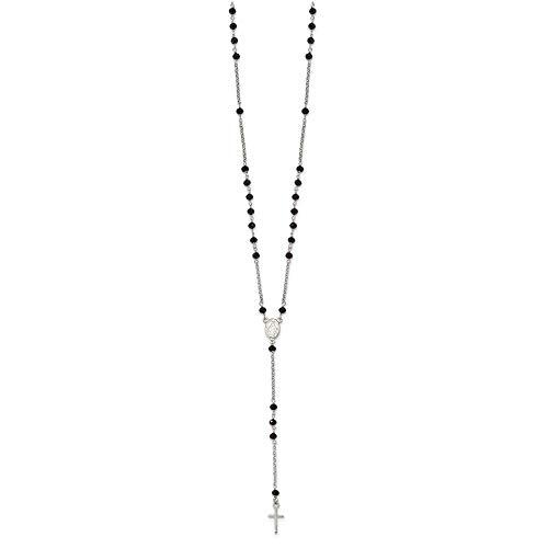 Collar de plata de ley 925 con cuentas de color negro con cuentas de 3,2 cm .ext collar de joyería regalos para mujeres – 48 centímetros