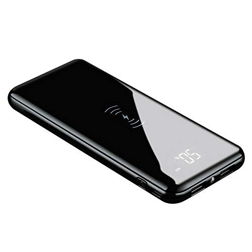 Qi Wireless Power Bank 50000mAh USB Output Fast Charger Portable Battery Pack Black