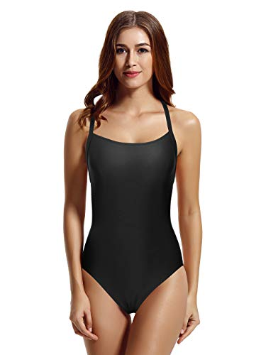 zeraca Women's Square Neck Cross Back One Piece Swimsuit Monokini (Black, Medium 10)