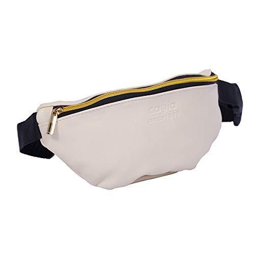 CAGIA faux väska midja skinn för män och kvinnor - Justerbar rem 1 Inside Outside blixtlås påse fickor midja för utomhusaktiviteter - midjeväska för resor, cykling, shopping, Beige
