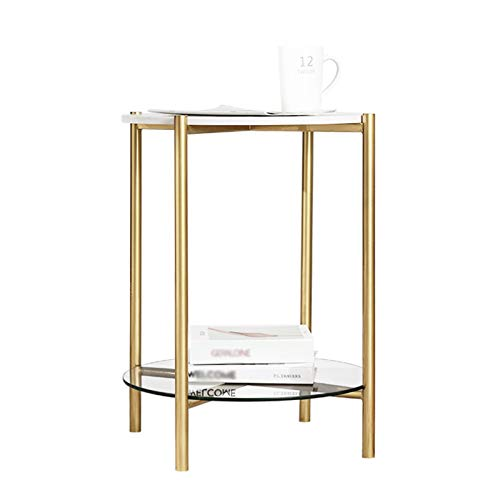 Tables Juan Marble and Tempered Glass Side 2 Tier Mini Small Round Living Room Golden Wrought Iron Coffee Bedroom Nightstand, 45x60CM