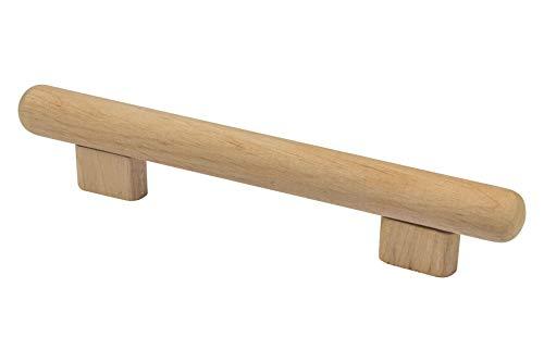 Gedotec Moderner Design Türgriff Schrank-Tür Schubladengriff rund Holz-Griff Möbelgriff Erle - KIVOR | Schrankgriff Küche Ø 20 mm | Lochabstand: 128 mm | 1 Stück - Kommoden-Griff für Schubladen