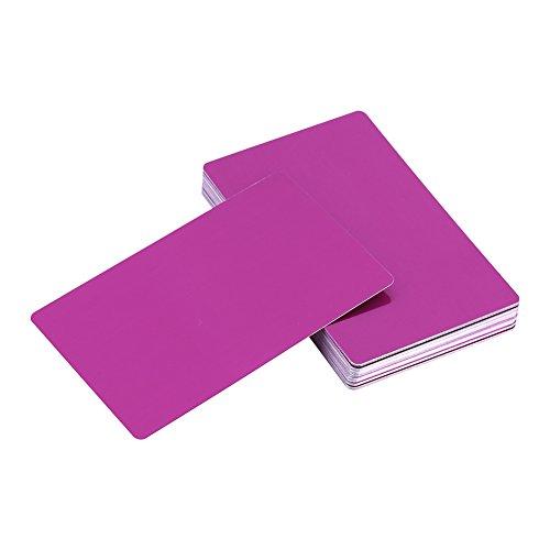 Bedrijfsnaamkaart 50Pcs 5 kleuren Indrukwekkende blanks Lasermarkering Graveren van metaal Glad Bedrijfsbezoek Naamkaartjes Afdrukbare visitekaartjes (paars)