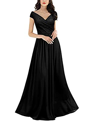 Miusol Women's Deep- V Neck Sleeveless Vintage Wedding Party Maxi Dress (X-Large, Black)