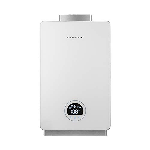 Camplux Tankless Water Heater Natural Gas,High Efficiency Residential Natural Gas Water Heater with Celsius Digital Display, 3.18 GPM Instant Hot Water Heater for 2-3 Persons Bathroom Indoor Use,White