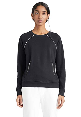 khujo Damen Sweatshirt Kaleah Baumwolle Rundhalspullover Glitzerstreifen Reißverschlusstaschen