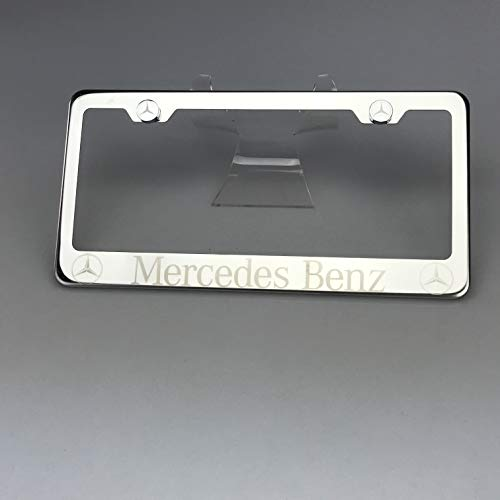 100% Stainless Steel Fit Mercedes Benz Laser Engrave Chrome Mirror Polish License Plate Frame Holder with Logo Steel Screw Caps