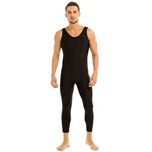 Agoky Herren Overalls Bodysuit Sport Trikot Ärmellos Tank Top Unterhemd und Lange Hose Pants Stretch Leggings Tights Männer Jumpsuit Schwarz XXL