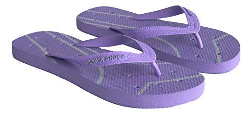 Shower Shoez Women's Non-Slip Dorm Gym Pool Water Sandal Flip Flops (9-10, Purple/Grey)