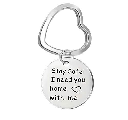 Anyeda Schlüsselanhänger Unisex Edelstahl Herz/Runder Ring mit Kreis Gravur Stay Safe,I Need You Home with Me Schlüsselanhänger Vatertag Silber B 2.5X2.5Cm