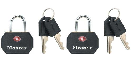 Master Lock 4681EURTBLK Set Lucchetti TSA a Chiave, 30 mm, Roso/Blu, 2 Pezzi