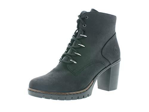 Rieker Damen Stiefeletten, Frauen Schnürstiefelette, halb-Stiefel schnür-Bootie übergangsschuh Lady Ladies feminin,schwarz,38 EU / 5 UK
