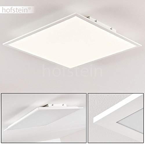 LED-plafondpaneel Antria, moderne plafondlamp van kunststof in wit, paneel met 40 Watt, 3000 Lumen, lichtkleur 4000 Kelvin, hoekige plafondlamp in vlakke uitvoering