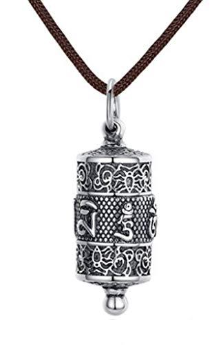 XIRENZHANG Collar de plata de ley 925 con colgante de loto de seis caracter mantra, para hombres y mujeres, 80 cm