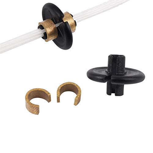 Archery Slide-On Kisser Button with Copper Anchor Clips (Pack of 2), Black