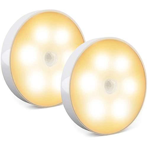 Luz de sensor de movimiento inalámbrico, luz nocturna LED recargable, luces de gabinete, luces encendidas, luces de disco de adsorción magnética con adhesivo 3M para cocina, pasillo, escalera (2 Pack)